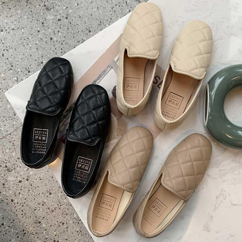 Women elegant Flats Pure color Shoes Square head Loafers Fashion Sweet Flat Female comfortable Casual Shoes Zapatos Mujer U25-28