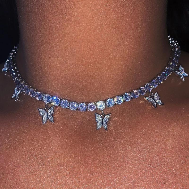 Luxe femmes Colliers papillon Pendentif en or animal Argent Glacé Choker Chaînes Fashion Bling strass collier Bijoux Cadeaux pour les filles
