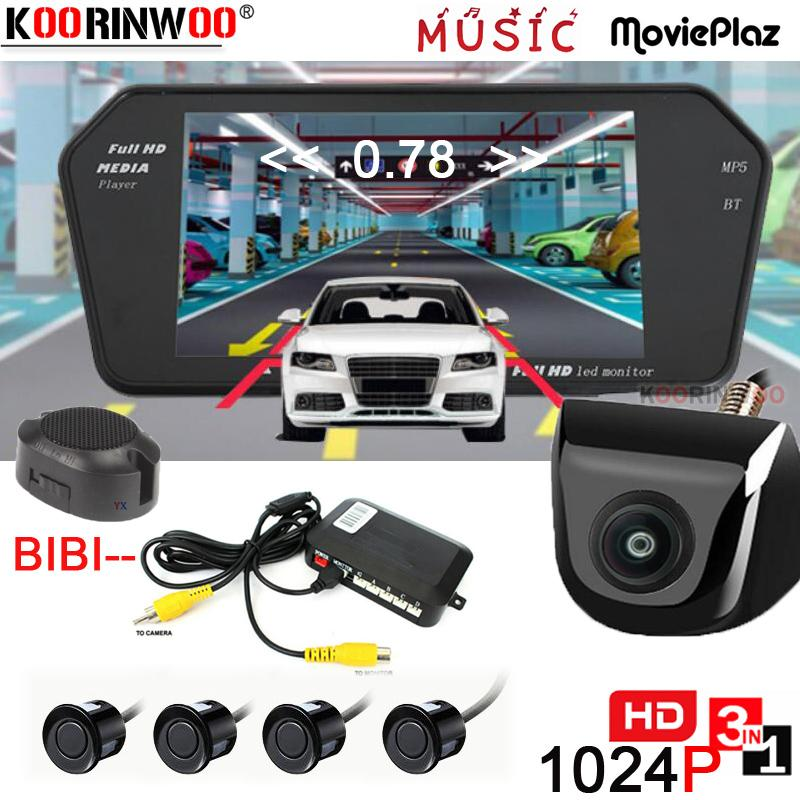 "Koorinwoo Parkmaster Kit AHD 1024P 7"" Car Screen Media Player Buzzer 12V Video Parking Sensors Rear view Camera Backup for Safe"