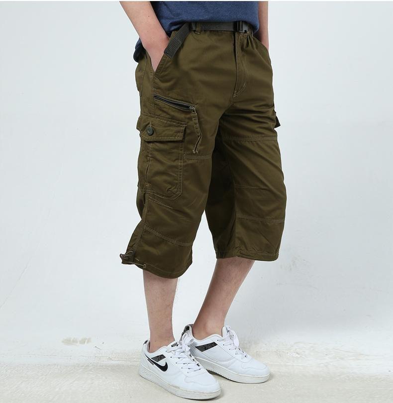 2018 Мужская Cargo Shorts Combat Plus Большой размер Capris 4XL 5XL Man Army Green Long Багги Короткие Мужчина Army Green Dark