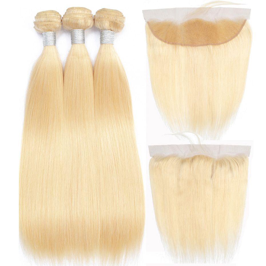 613 Blonde Bündel mit Frontal Remy Menschenhaar-Verlängerungen Peruanischer Glattes Haar Bündel mit Frontal Closure freien Teil