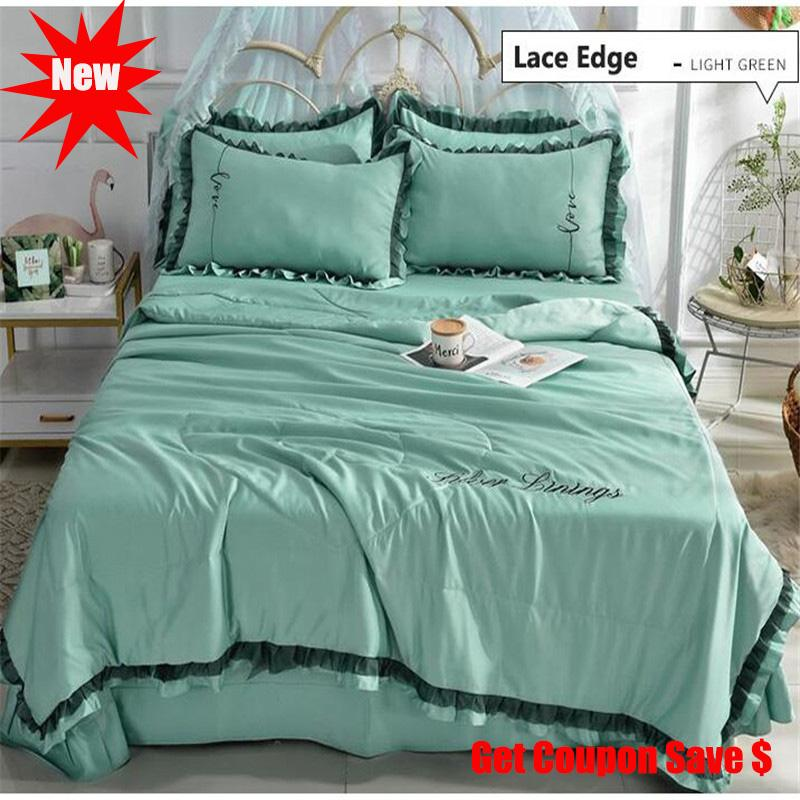 Washed silk summer quilt sets 4pcs Lace edge 1.5m/1.8m quilt pillowcase bedskirt sets hot sale duvet set bedding