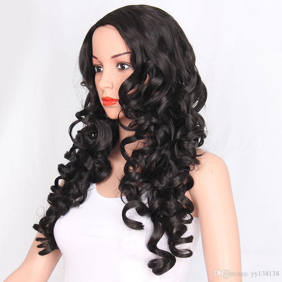 Largas pelucas de onda rizada natural para mujeres Damas Negro # 1B Ombre peluca Bob pelucas sintéticas pelucas de pelo completo Peruca Cosplay y fiesta peluca morena