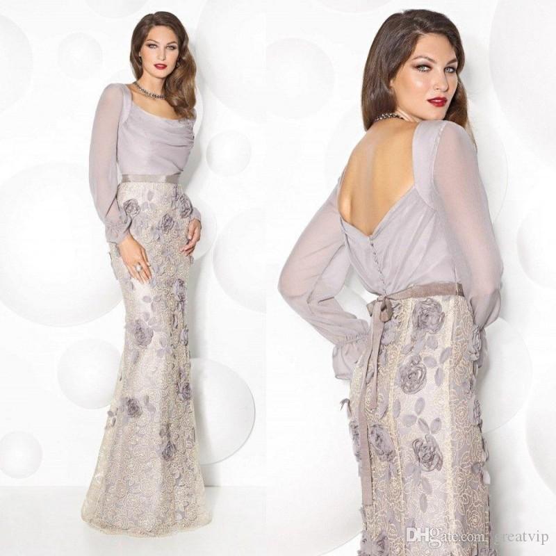 Новейшая мама невесты платья с длинными рукавами 3D ручной работы цветок длина дола формальные вечерние платья плюс размер свадебные гостевые платья
