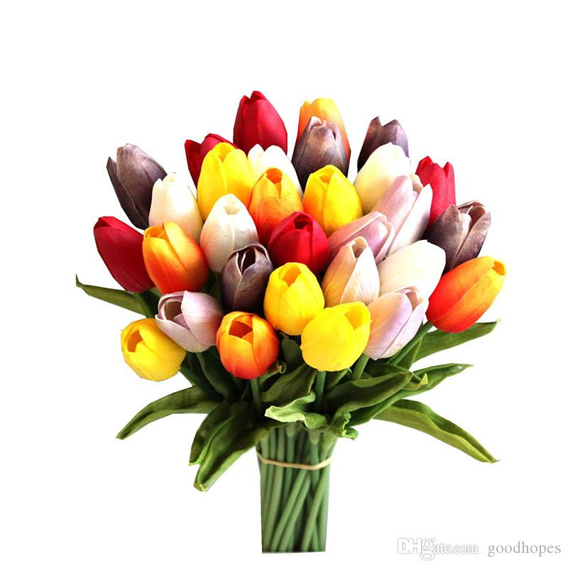 Künstliche Tulpe Blume PU-Latex Tulpe-Blumenstrauß Blumen für Partei-Haus-Hochzeit, Geburtstag, Weihnachten, Dekoration, Blumen