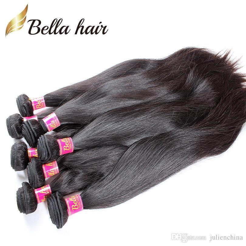 8 ~ 30inch cabelo humano trama não transocional virgem indiana tecida 100% sedoso em linha reta 2 peças Natural Black Color Bundles