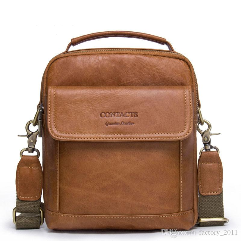 Genuine Leather Shoulder Bags Fashion Men Messenger Bag Small ipad Male Tote Vintage New Crossbody Bags Men's Handbags Man Casual Bag MB082