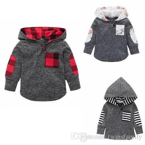 Детская одежда Мальчики Plaid фуфайка девушка Цветочная вскользь толстовка куртка с капюшоном пальто с длинным рукавом Мода Хип-хоп Outwear Перемычка пуловер C6537