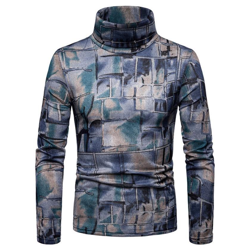 suéter de impresión hombres 2019 vellón cálido manga larga cuello alto patrón de impresión suéter manga larga sudadera de fondo envío gratis Q147