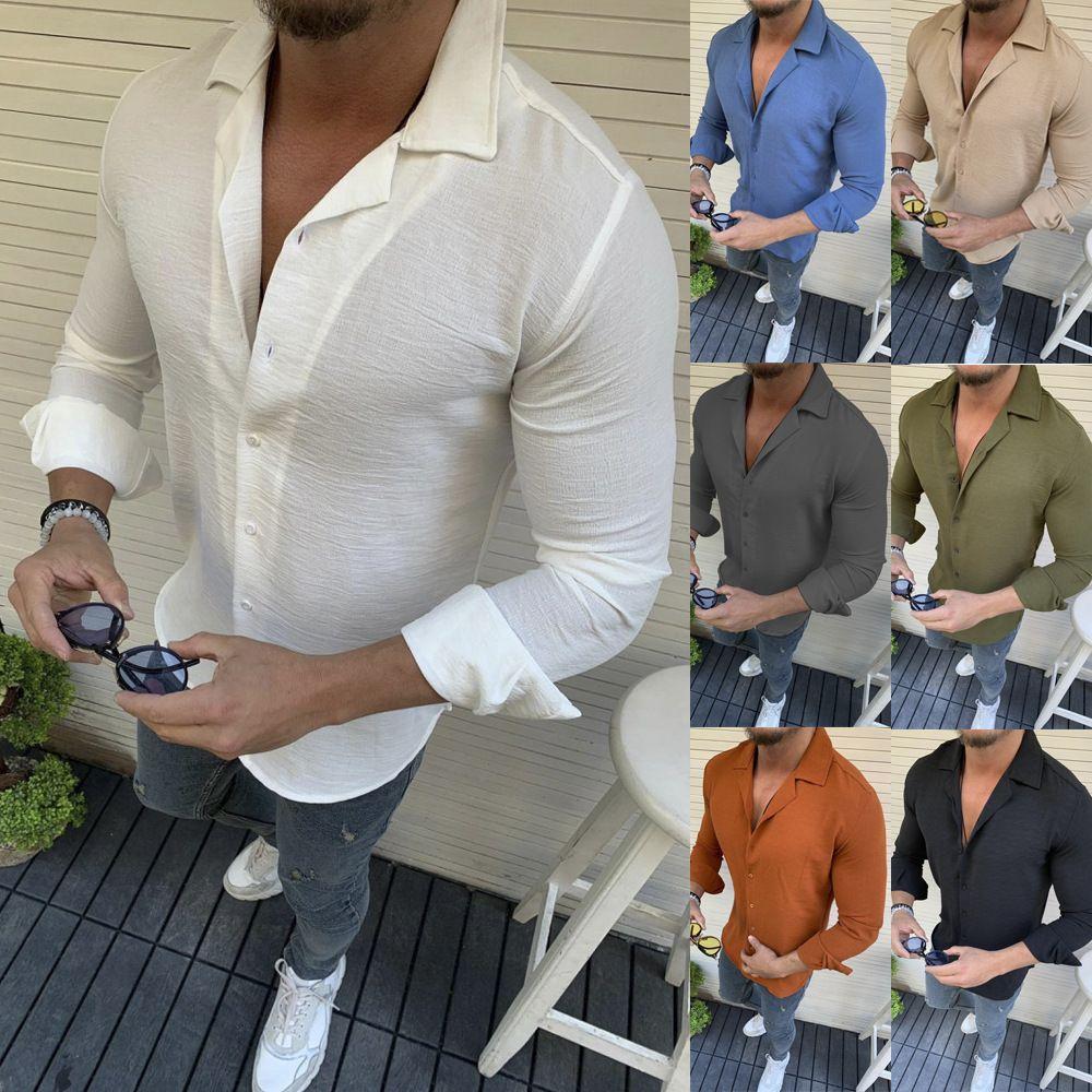 New Turn down Collar men's long sleeve fashion shirt Solid Color mens casual shirt Wish Amazon hot sale