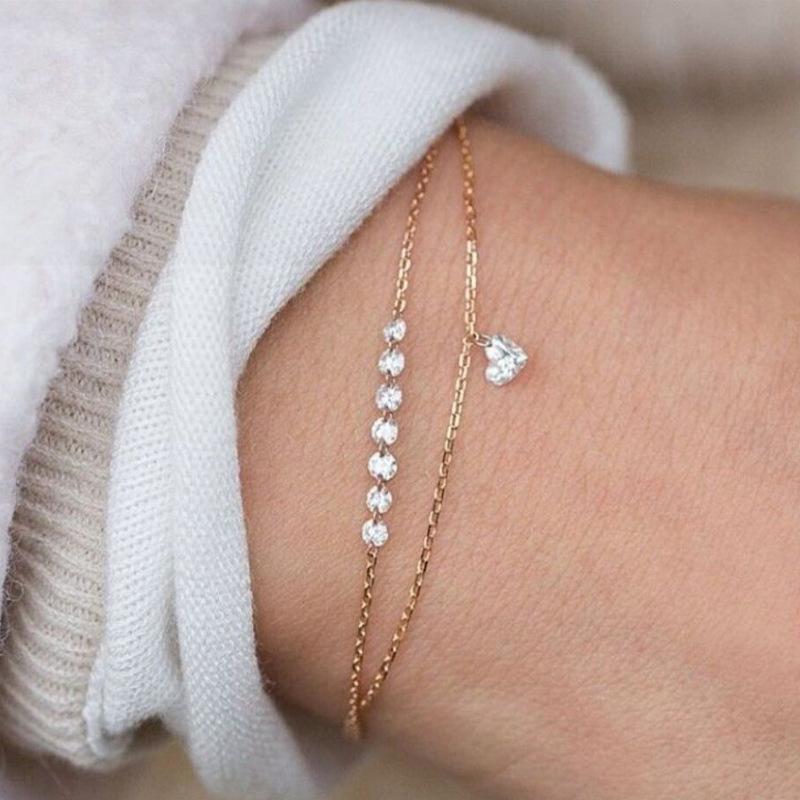 R-brillante dei monili di modo di Boho Multilayer Bracciali per la donna di cristallo bella del cuore della mano Stile Naturale Bracciale Femme Gioielli