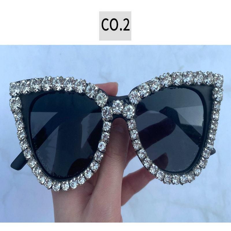 Diamante di cristallo occhiali neri Compre Venta Al Por sindaco di lusso del diamante degli occhiali da sole Mujeres De Marca di cristallo Piccolo Cat Eye Occhiali da sole T6gKt