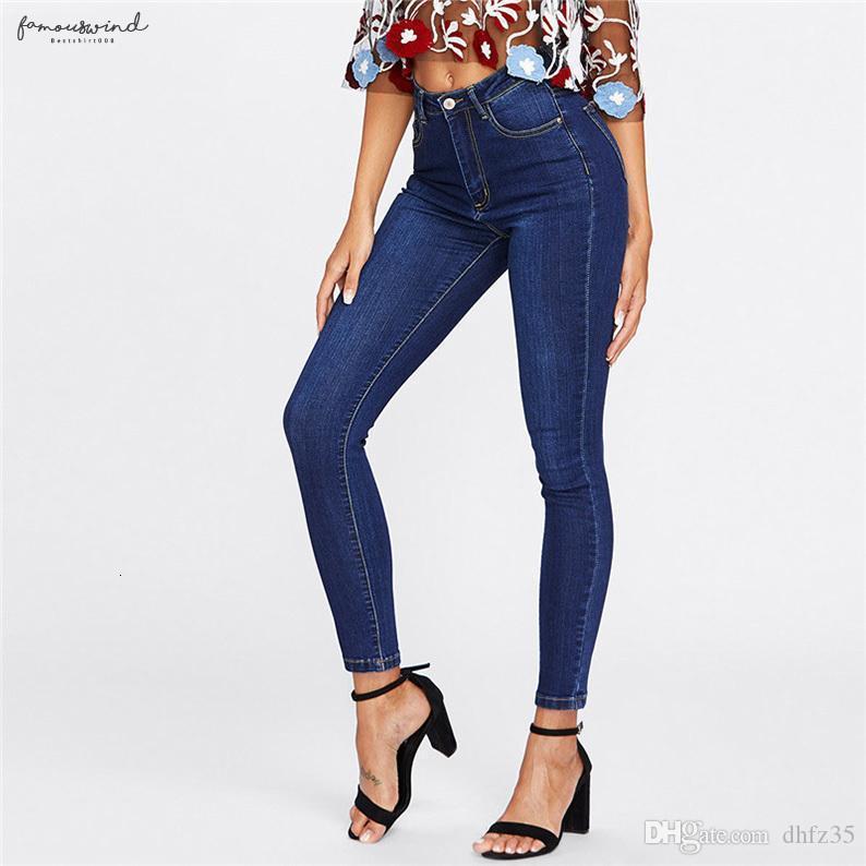 Compre Mujer Lavado Oscuro Flacas Pantalones Jeans Oscuros Primavera Mujer De Cintura Alta Button Fly Casual Jeans De Color Azul Pantalones Largos Del Lapiz A 29 06 Del Dhfz35 Dhgate Com