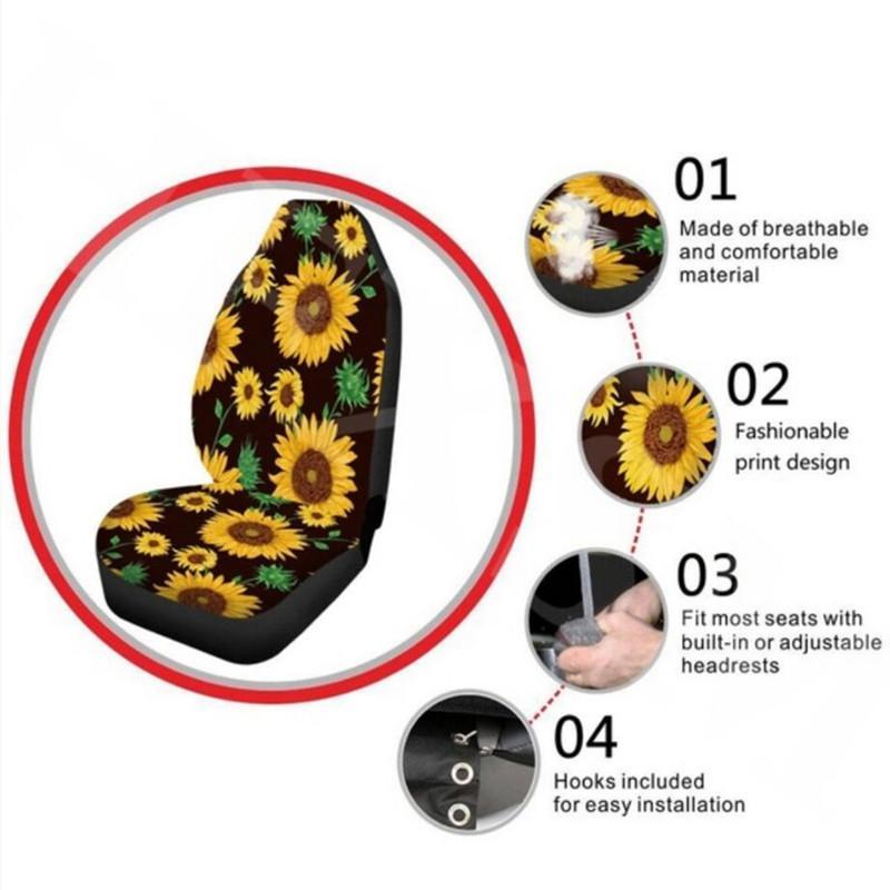2 Stück Universal-Autositzbezüge Blumen atmungsaktiv und winddicht wasserdicht Four Seasons Universal-Automotive Interior Drucke