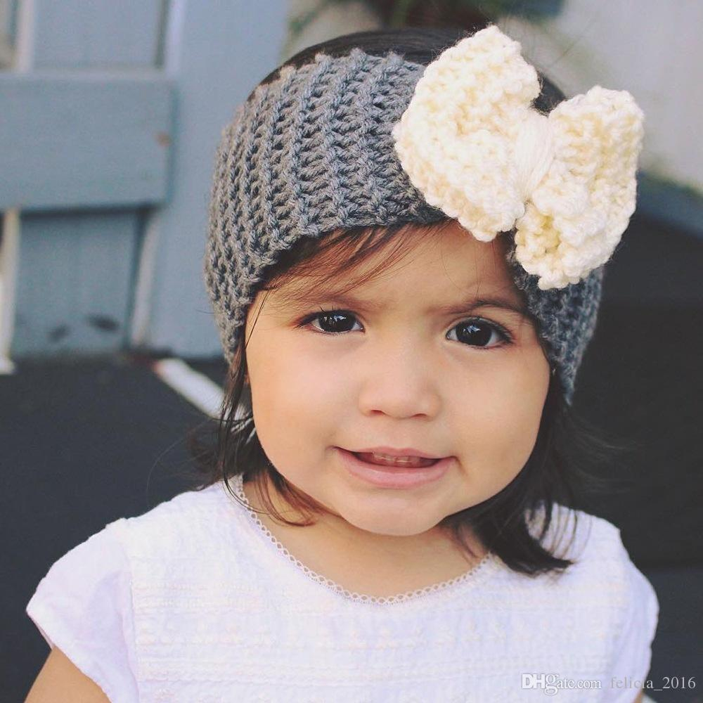 Laine d'hiver tricoté Bandeau bébé Filles Bow Bandeau Crochet Woollen Accessoires cheveux du nouveau-né double couche Archets Kid Turban Knot tête wrap