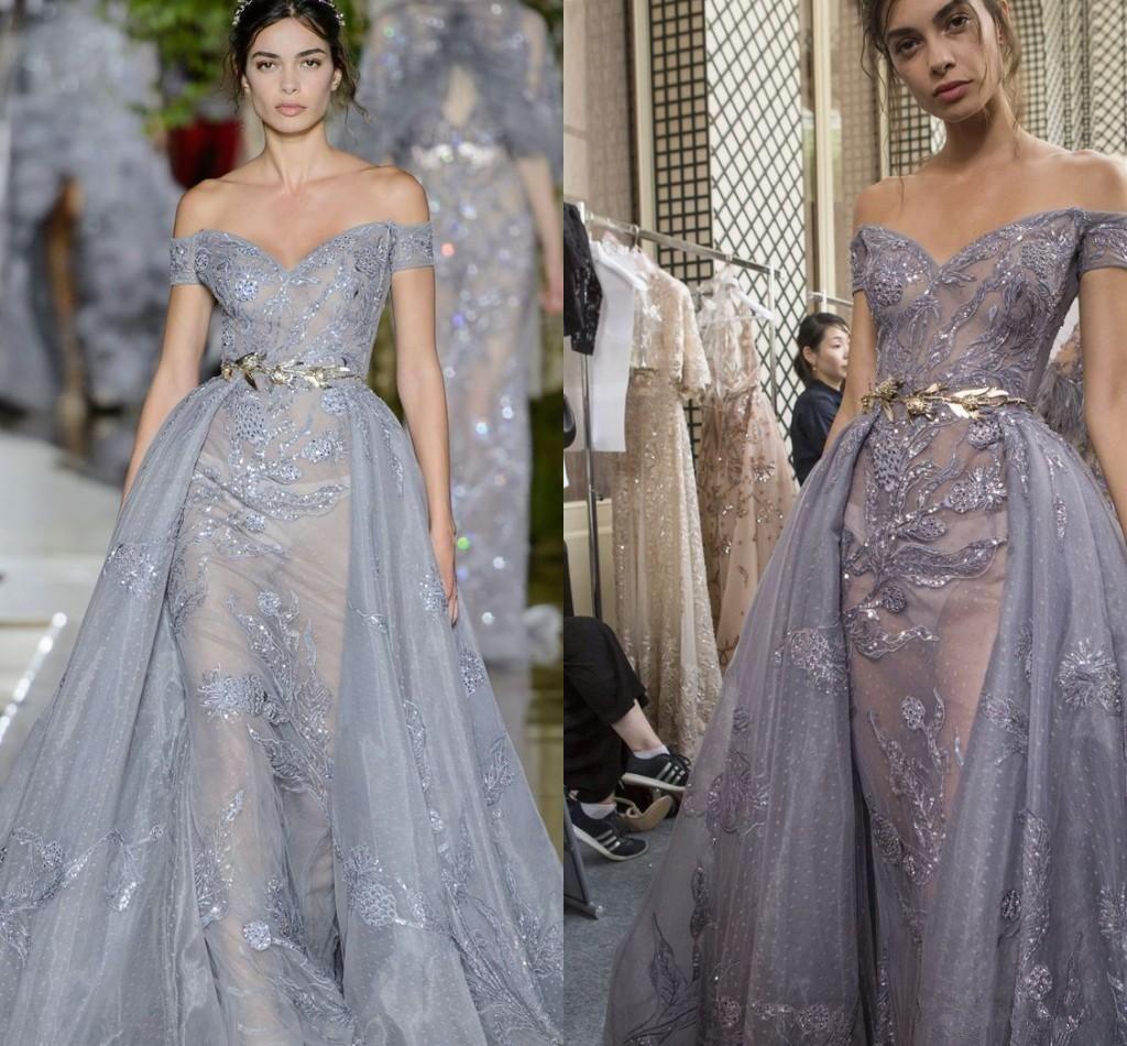 Zuhair Murad 2019 Mermaid Prom Dresses Off The Shoulder Lace Sequins With Detachable Train Evening Gowns Formal Wear robes de soirée