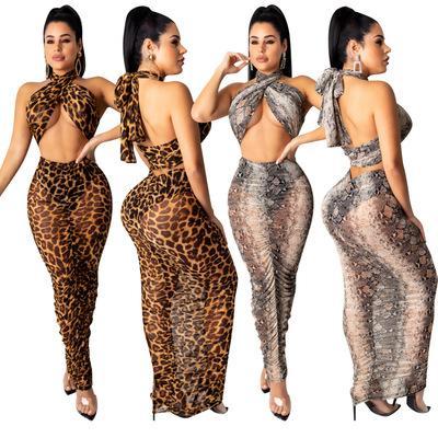 Mujeres de la manera vestido de dos piezas mujer de los trajes del leopardo ocasional de Ladys atractivo estampado de leopardo de impresión de la serpiente-faldas del partido del verano 2020 del estilo de la ropa atractiva