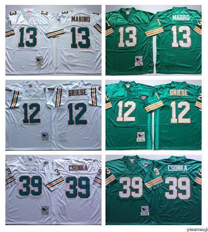 premium selection 6347a 09439 2019 Throwback Vintage Miami Men 13 Dan Marino Jersey Dolphins 12 Bob  Griese 39 Larry Csonka Jerseys Football Uniform Team Green Away White From  ...