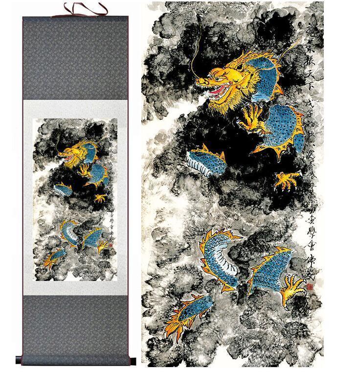 Топ Qualtiy Дракон Живопись Драконы Играя Огненный Шар Китайский Свиток Живопись Дракон Живопись