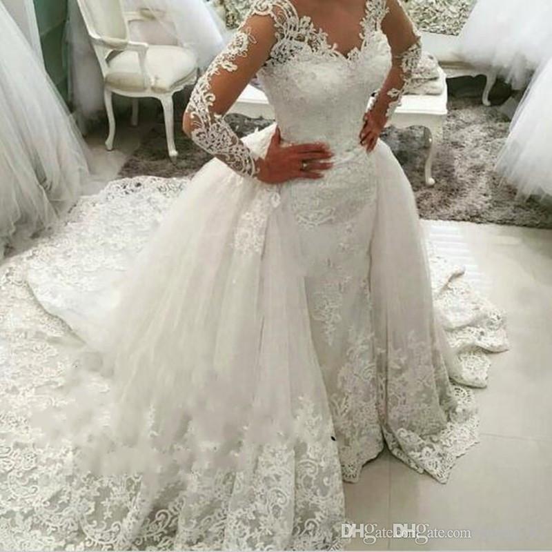 Abiti da sposa da sposa in pizzo treno staccabile 2019 New Sheer Long Sleeves Fluffy Ball Gown Lace Up Appliques Vestido De Noiva 111