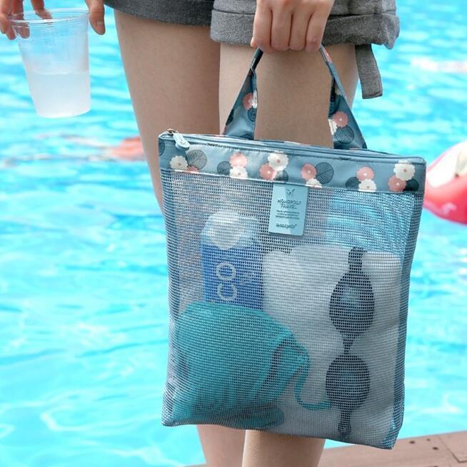 bolsa de playa mujer paño de Oxford bolso de mano-retícula hueco de salida de malla de compras bolsas de almacenamiento de deportes de verano de natación del bolso de la materia