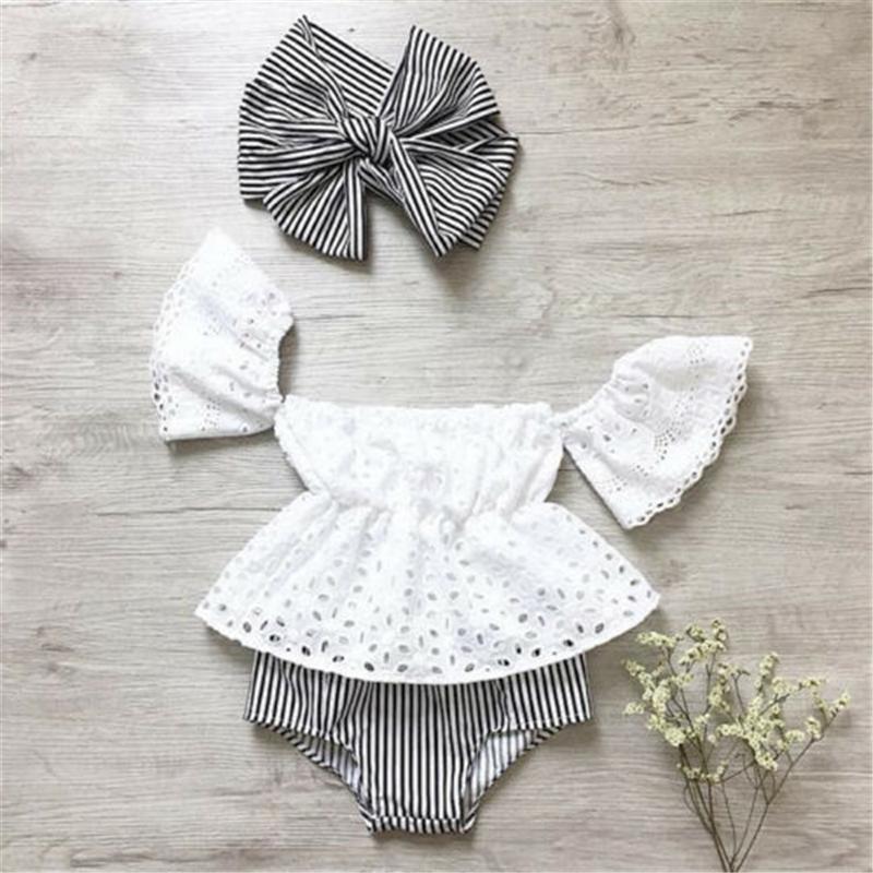 Yenidoğan Bebek Kız Kapalı Omuz Dantel Üst Çizgili Şort Kıyafetler 3PCS Yeni Bebek Kız Giyim Dantel Kapalı Omuz Üst + Çizgili