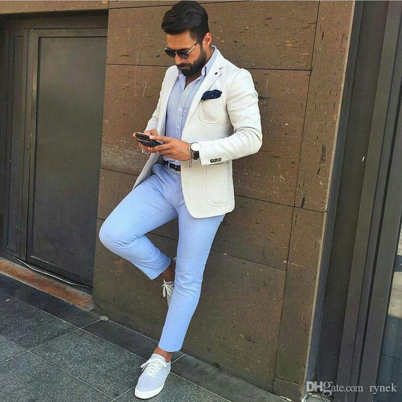 Elfenbein Mann Geschäftskleidung Blaue Hosen Anzüge für Hochzeit Bräutigam Smoking 2 Stück (Jacke + Hose) Homecoming Party Kostüm Homme Terno Masculino