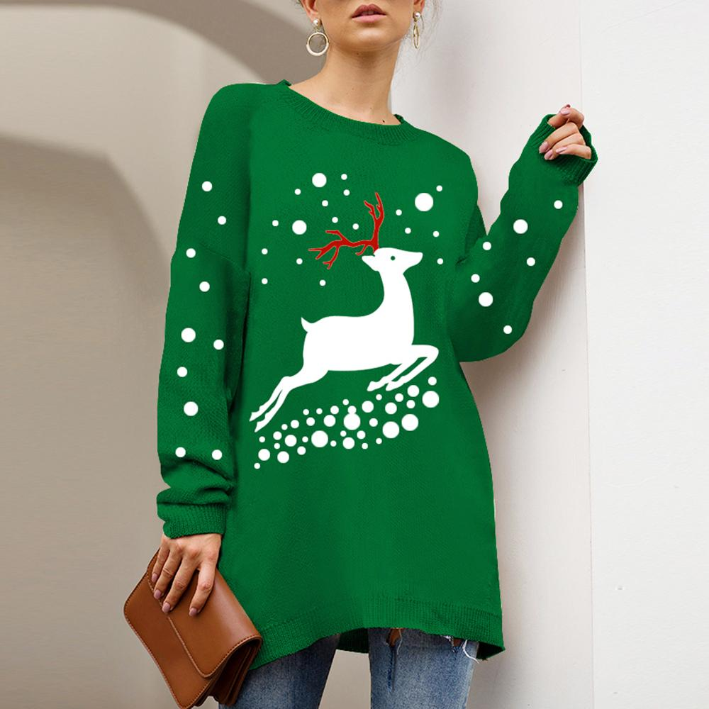 CYSINCOS Trendy Slim Christmas Sweater 2019 Women Loose Printed O Neck Knitted Jumper Femme Korean Style Plus Size Tops Female