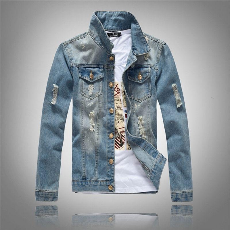 CALOFE Slim Fit Hombres Denim Blue Jeans Abrigo Manga larga Agujeros Chaqueta Primavera Casual Hombre Streetwear Cowboy Button Chaquetas vintage SH190906