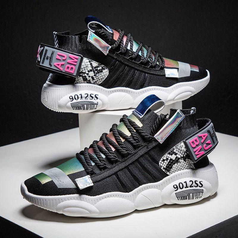 Ozhouzhan di vendita caldo degli uomini dei pattini fondo spesso papà scarpe INS Celebrity Style laser fredda Trend casual Sport Estate