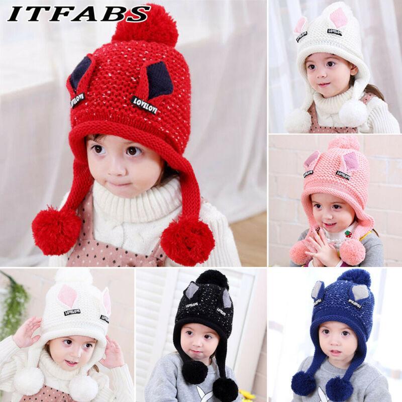 2019 Newly Baby Kid Warm Winter Knit Wool Beanie Fur Pom Bobble Hat Crochet Cap 5 Colors