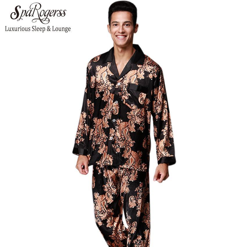 Mens Pajama Set 2017 New Couple Pajama Suits Design Men's Long Sleed Pajama Pajama Pants Faux Silk 2 Pcs Sets TZ185