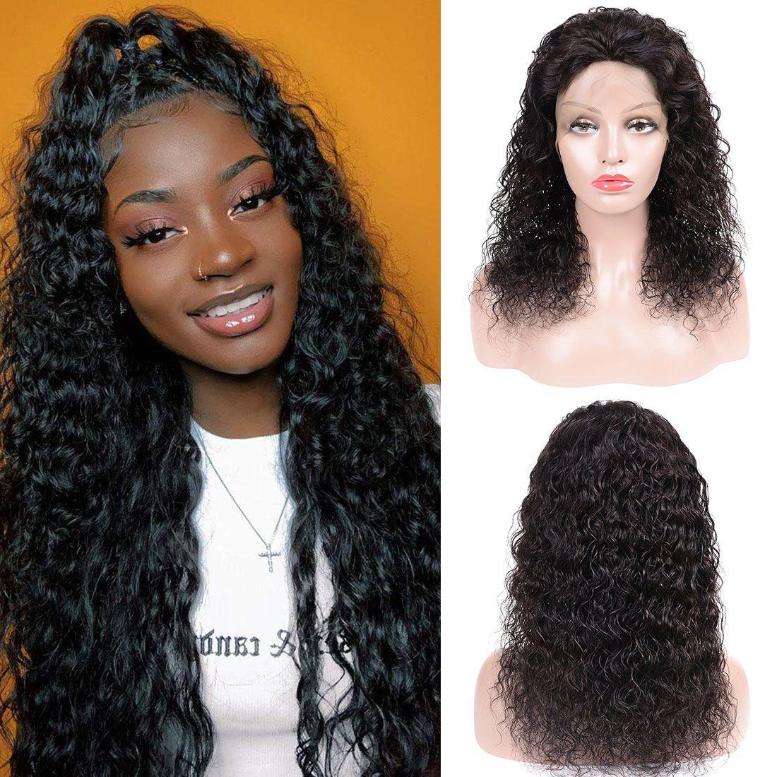 13x6 Water Wave merletto della parte anteriore parrucche brasiliano non trattato capelli umani del Virgin Parrucca Pre pizzico naturale con parrucca capelli del bambino per le donne nere