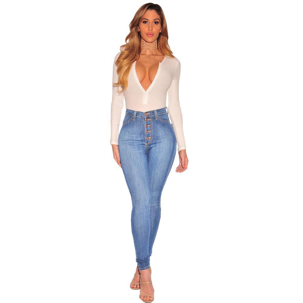 Fast Shipping Mulheres Designer Jeans Sexy magro Push up cintura alta Slim Fit Denim Pants Magro Denim Skinny jeans rasgado tamanho L