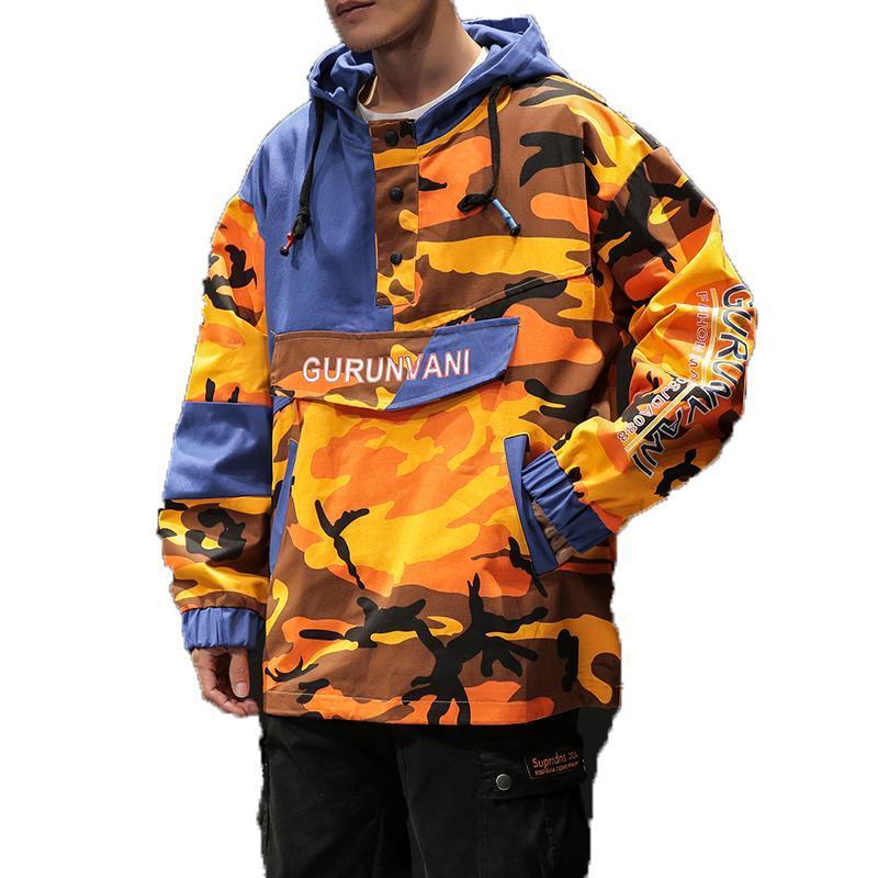 Bombardero de la primavera de la chaqueta de los hombres del remiendo de camuflaje para hombre Pullover chaquetas y abrigos con capucha Streetwear prendas de vestir exteriores del chándal Hombre de Hip Hop M-5XL