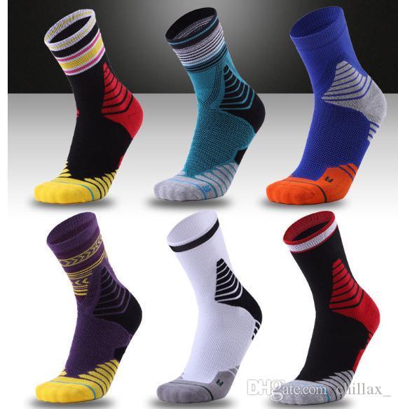 chaussettes de basket-ball limitées bas de sport pour hommes respirant épaissi fond serviette de mâle de sport professionnel à long