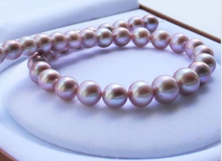 элегантный 11-12mm южного моря круглый лаванды жемчужное ожерелье 18inch 14k