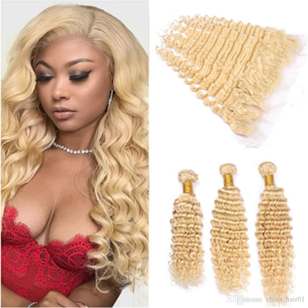 Peruvian Blonde Human Hair Extensions with Lace Frontal Closure 13x4 Deep Wave Wavy #613 Blonde Virgin Hair Weave Bundles Double Wefts