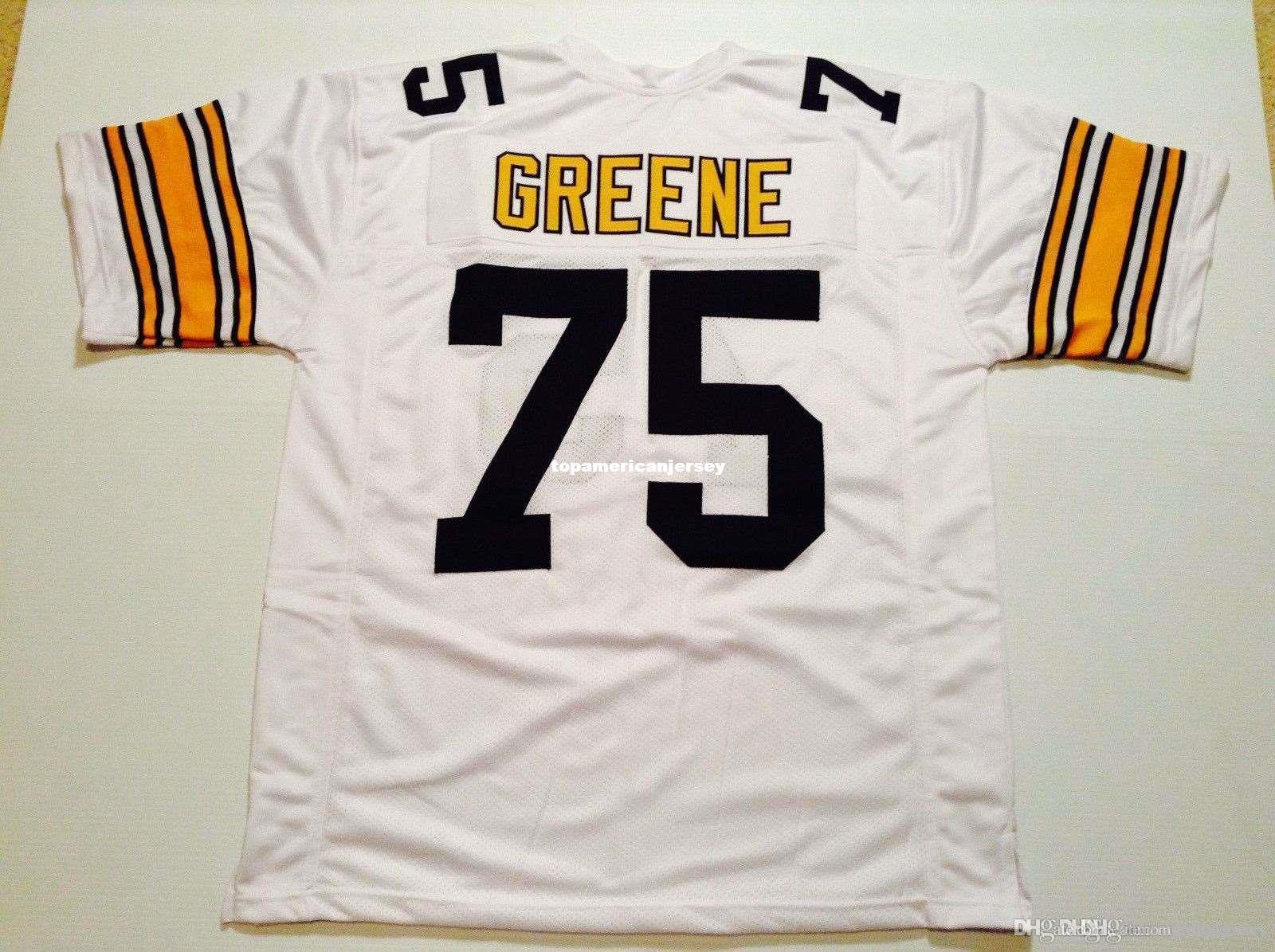 Дешевые ретро пользовательского Шили прошитого # 75 Джо Greene белого MITCHELL НСС Джерси Top S-5XL, 6XL мужского трикотажные изделия футбола регби