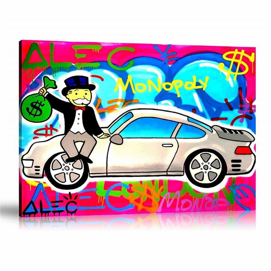 Mi amor Porsche rosa Alec Monopoly, HD impresión de la lona Inicio Pintura Arte Decoración / (Sin marco / capítulo)