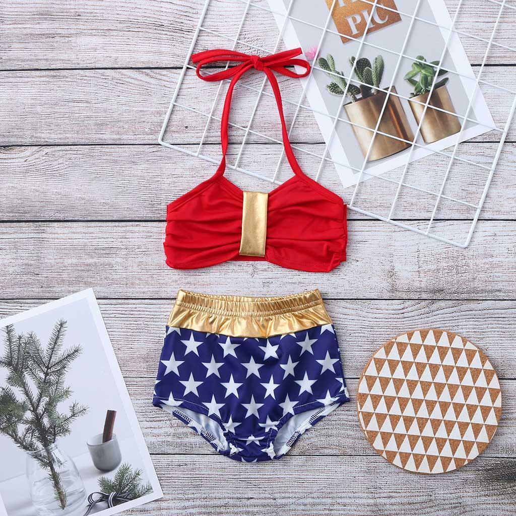 Toddler Kids Baby Girl Stars Print Bikini Swimwear 2pcs Swimsuit Bathing Suit