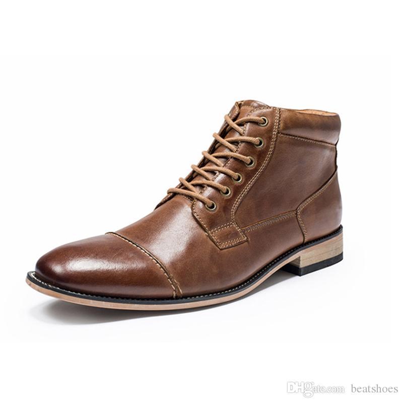 Gli uomini High-top Abito scarpe progettista del cuoio di affari stivali caldo cotone scarpe di moda inverno Gentleman scarpe Ufficio Flats britannico Cowskin