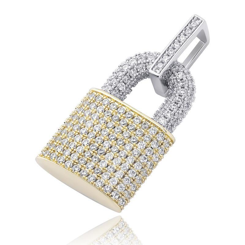 Festival Fashion Jewelry Female Necklace Gold Silver Color Key Lock Zircon Padlock Pendant Long Necklace