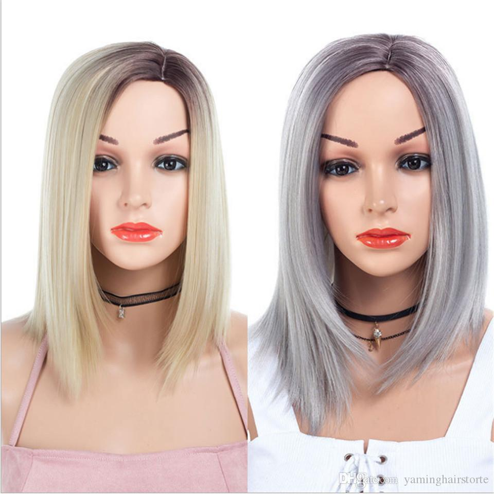 Ombre Black Silver Grey And R6/27/613 Color Short Cosplay Bob Synthetic Hair Wigs Straight Parting Division Wigs For Women