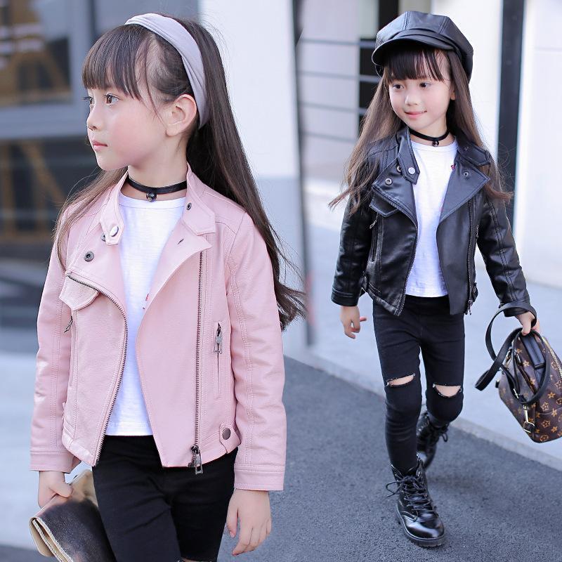 Moda giacca di pelle per i bambini classica giacca di pelle bavero giacca a vento bambina grande dei bambini giovani 3-12 anni