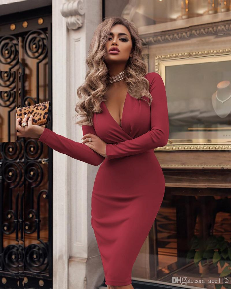 Women Sexy Deep V-neck Wrap Dress Spring Long Sleeve Solid Bodycon Party Dress Elegant Knee-Length Pencil Dresses Vestidos