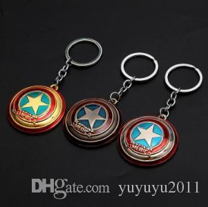 19styles Avengers Kaptan Amerika Anahtarlık Superhero Yıldız Shield kolye Araç Anahtarlık Aksesuarları Batman'in llaveros Marvel keychai jssl01