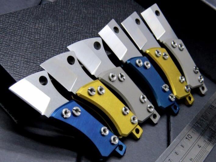 미니 서지 콩 S35VN 100 % 61HRC는 남자 1PCS를위한 선물 칼을 접는 키 체인 블레이드 티타늄 핸들 주머니 칼을 stonewashed
