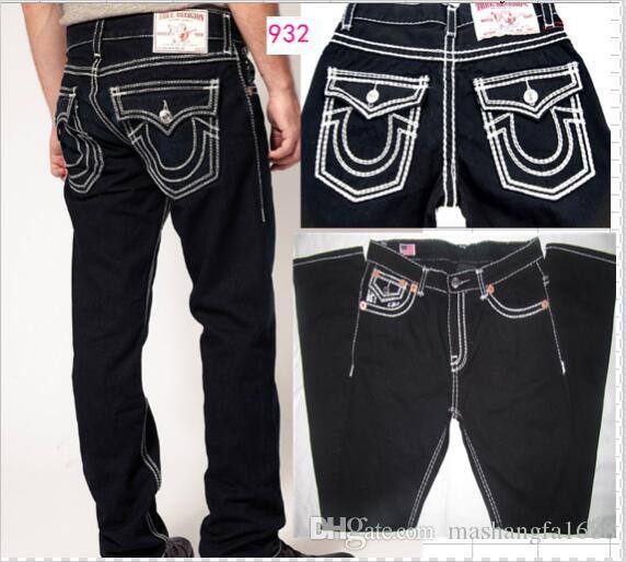 Herren-Jeans mit geradem Schnitt Lange Hose Hosen der Männer Wahre Coarse Linie Religion Jeans Kleidung Mann beiläufige Bleistift-Hosen-Blau Schwarz-Denim-Hosen 9328