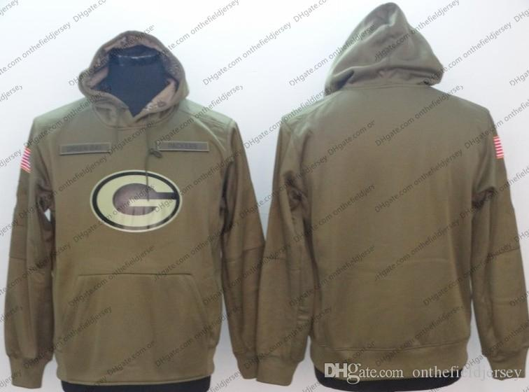 Mens Green Bay Sweatshirt Packers Hoodie 2018 Olive Salute to Service Sideline Therma Performance Pullover Hoodie S-3XL